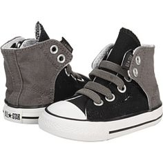Infant Converse high-tops that wrap Velcro up the back... no lacing required.