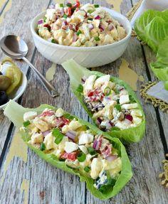 Mediterranean Diet Plan Mediterranean Egg Salad in Lettuce Cups Recipe Mediterranean Breakfast, Mediterranean Diet Recipes, Mediterranean Dishes, Healthy Foods To Eat, Healthy Eating, Healthy Recipes, Skinny Recipes, Healthy Cooking, Healthy Snacks