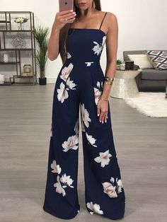 Shop Floral Spaghetti Strap Wide Leg Jumpsuit right now, get great deals at Joys. Shop Floral Spaghetti Strap Wide Leg Jumpsuit right now, get great deals at Joyshoetique. - Jumpsuits and Romper Summer Outfits, Casual Outfits, Cute Outfits, Fashion Outfits, Womens Fashion, Style Fashion, Women's Casual, Casual Summer, Fashion Clothes
