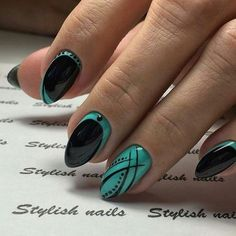 48 Patterns of Floral Nails with Dark Background Page 44 of 48 Nail Art nail art and spa prices Elegant Nail Designs, Fall Nail Designs, Beautiful Nail Designs, Stylish Nails, Trendy Nails, Fancy Nails, Cute Nails, Gel Nagel Design, Geometric Nail