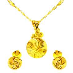 Jpearls Gold Antique Pendant Set, Gold Ear Studs