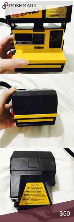 Polaroid JobPro Originally designed for use on construction sites, the Polaroid Job Pro has an eye-catching 'safety' yellow color scheme that fits well with its boxy 80s construction. It's a solid camera, built for durability and ease of use - great for beginners. Used 600 film and prints full sized polaroids. Great working condition with strap attached. Very minimal wear on the frame. Film not included Urban Outfitters Other