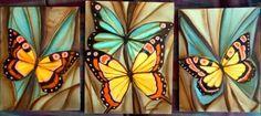 cuadros pintura acrilica con mariposas Butterfly Painting, Butterfly Art, Painting Lessons, Painting & Drawing, Pictures To Paint, Art Pictures, Painted Glass Blocks, Beautiful Butterflies, Modern Art