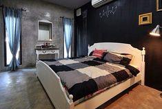 ห้องนอน ผนังสีดำ วาดภาพได้
