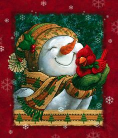 Christmas art, snowman art by renowned painter Janet Stever. Snowman Clipart, Christmas Clipart, Christmas Printables, Christmas Pictures, Christmas Snowman, Winter Christmas, Vintage Christmas, Christmas Holidays, Christmas Crafts