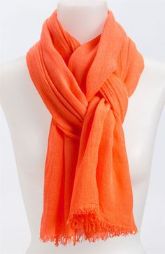 A gauzy scarf with crinkled texture brings a bold pop of color to any outfit. - perfect for fall