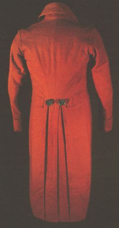 """""""Incroyable"""" style coat, last half of the 1790s, in red wool cashmere."""