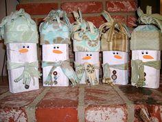 Wooden Snowmen.  See info at http://n8swife.blogspot.com/2009/12/christmas-craft-wooden-snowmen.html