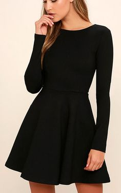 Forever Chic Black Long Sleeve Dress via @bestchicfashion
