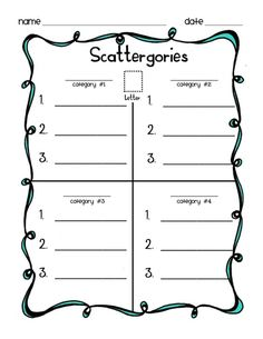 Scattergories lists for kids. Perfect for tutoring. I'm