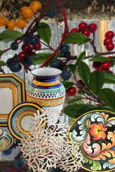 The Fall Collection of Artisan Talavera Dinnerware, Servingpieces & Vases - plus crafted Mexican Pewter. We love the changing seasons, and these lush, warm colors and vibrant designs are the perfect complement. Talavera Pottery, Pottery Art, Autumn Inspiration, Warm Colors, Pewter, Dinnerware, Holiday Gifts, Lush, Vases