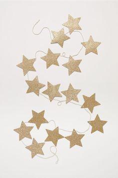 Glittery star garland - Gold-coloured - Home All   H&M GB 2