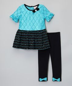 Look at this #zulilyfind! Blue Lace Ruffle Top & Black Leggings - Infant, Toddler & Girls by Little Lass #zulilyfinds