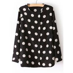 Fashionable Scoop Collar Long Sleeve Polka Dot Print Women's Shirt