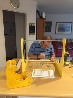 Hugh working on my giant loom! 24/6/17