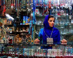 Woman in bead shop in Isfahan, Iran.