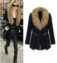 Kate Moss Wool Coat with Faux Fur Collar