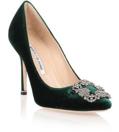 """Green velvet evening pump with a grey crystal embellished ornament from Manolo Blahnik. The Hangisi pump has a slightly pointed toe, a covered heel measuring approximately 105mm / 4"""" high, and cream leather lining.True to sizeLeather soleMade in ItalyDesigner colour: Forest Green 301 #manoloblahnikheelsstilettos"""
