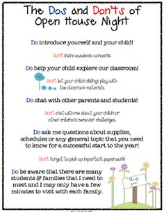 "LESSON - ""Dos and Don'ts of Open House Parent to Teacher Info Sheet FREEBIE"" - Go to The Best of Teacher Entrepreneurs for this and hundreds of free lessons. Beginning Of The School Year, First Day Of School, Fun Classroom Activities, Classroom Ideas, Preschool Ideas, Classroom Organization, Preschool Open Houses, Open House Night, Teacher Resources"
