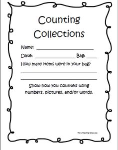 The 2 Teaching Divas!! Counting Collections!  Aligned to Common Core Standards for the k-2 classroom!