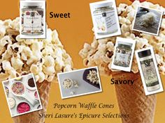 Popcorn Waffle Cones - Make them Sweet with Epicure Selections Summer Berry or make them Savory with Epicure Selections Creamy Ranch, Caesar Salad Dressing or Pizza Seasoning! The options are limitless with Epicure Selections Gluten Free Dips, Herbs & Spices. Kids of ALL ages Love them :)