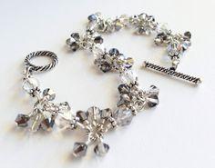 Crystal Night Cluster Bracelet with Swarovski by OpheliasJewels