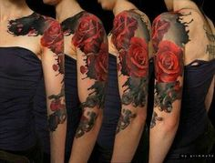 These 49 rose tattoo designs and ideas are really amazing. Find your inspiration with our gallery of rose tattoos on shoulder, sleeve, arm or hand. Girly Tattoos, Arm Tattoos, Flower Tattoos, Body Art Tattoos, Tattoo Roses, Nurse Tattoos, Vine Tattoos, Rose Sleeve, Flower Sleeve