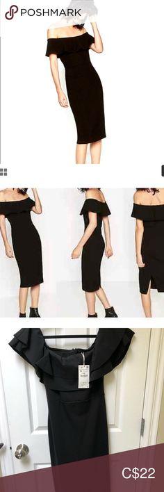 Brand new Zara dress Brand new Zara off shoulder dress in size M. Fits like a small. Tag still on Zara Dresses Midi Off The Shoulder, Shoulder Dress, Zara Dresses, Zara Black, Dress Brands, Brand New, Fitness, Skirts, Closet