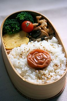 Umeboshi on Rice, Healthy Japanese Bento Lunch by chobisuke-mama