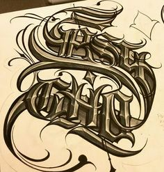 Chicano Lettering Chicano Lettering, Tattoo Lettering Fonts, Tattoo Script, Graffiti Lettering, Lettering Styles, Typography Letters, Graffiti Art, Arte Lowrider, Letras Tattoo