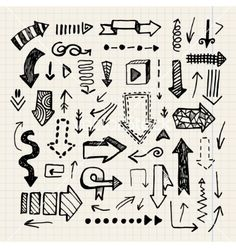 Hand drawn doodle arrow collection isolated vector by Marylia17 on VectorStock®