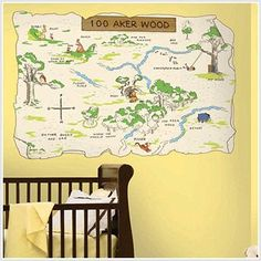 Pooh and Friends 100 Aker Wood Wall Mural Sticker ... cute for a Winnie the Pooh theme!