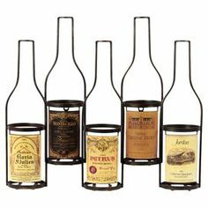 """Metal wall-mount wine rack with label details and bottle silhouettes. Holds 5 bottles.   Product: Wine rackConstruction Material: MetalColor: MultiFeatures: Holds five wine bottlesDimensions: 18"""" H x 21"""" W x 5"""" D"""
