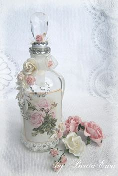 The Enchanted Cove-like simple style , alittle lace trim, decoupage roses, small diy roses with a pearl drop