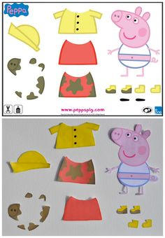 Peppa Pig Dress Up Printable - modify this a bit for toddlers to play? Peppa Pig Outfit, Peppa Pig Dress, Toddler Crafts, Toddler Activities, Winter Activities, Molde Peppa Pig, Peppa Pig Doll, Pig Crafts, Jumper Knitting Pattern