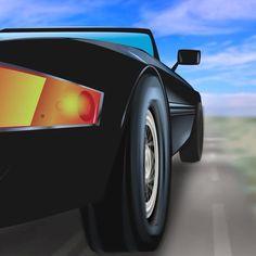 "@miami.vice.art on Instagram: ""Daytona in daylight. #miamivice #ferraridaytona #ferrari #80s #80dayobsession #80stv #animation"""