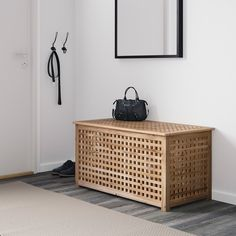 IKEA - HOL, Storage table, acacia, Solid wood, a durable natural material. Practical storage space underneath the table top. Ikea Storage, Table Storage, Storage Spaces, Storage Benches, Shoe Storage, Acacia, Ikea Hol, Storage Bench With Baskets, Ikea Side Table