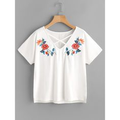 Crisscross Neck Symmetric Embroidery Stepped Hem Tee (230 ARS) ❤ liked on Polyvore featuring tops, t-shirts, white, summer t shirts, v neck t shirts, white sleeveless top, v neck tee and v-neck tee