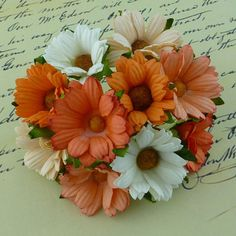 5 x MIXED PEACH/ORANGE/WHITE 45mm CHRYSANTHEMUMS Mulberry Paper Flowers - Crafts #WildOrchidCrafts #Embellishments