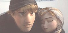 Anna and Kristoff  And then he takes off his hat and puts it on her. ♥ I can't get over how cute this is! Even though it was scary!