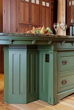 Arts & Crafts Designer Series island finished in Lexington Green Old Fashioned Milk Paint with a Van Dyke Glaze