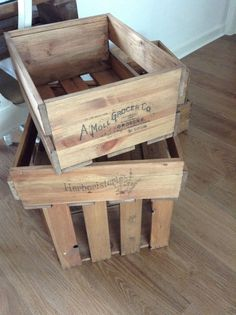 Wooden crates from salvage pine wood