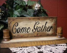 Sign Candle Holder, Wood Sconce, Hand Painted Sign, Country Primitive, Home Decor