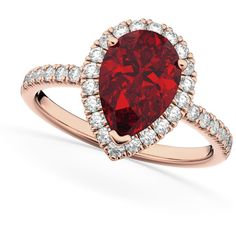 Allurez Pear Cut Halo Ruby & Diamond Engagement Ring 14K Rose Gold... ($3,335) ❤ liked on Polyvore featuring jewelry, rings, rose gold, 14k rose gold ring, ruby ring, diamond rings, ruby diamond ring and engagement rings