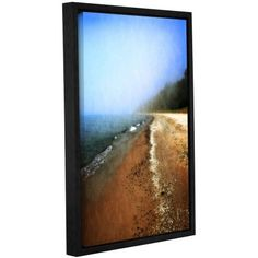 """ArtWall Kevin Calkins """"Foggy Day at the Beach"""" Gallery-Wrapped Floater-Framed Canvas"""