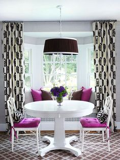 Four Bay Window Treatment Ideas that Work, not these colors necessarily, but I like the curtain rod across the top