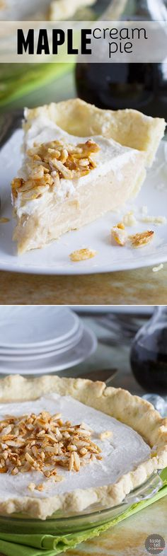 A creamy maple filling is topped with whipped cream and sugared almonds in this Maple Cream Pie Recipe that can easily be made without any refined sugar. It is sweet and silky and simply delicious.: