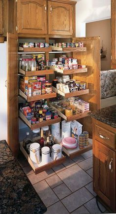 Organize your existing kitchen cabinets with this Slide-A-Shelf organizer. Give us the cabinet's measurements, and we'll make them to fit. It's the best kitchen organization solution ever! Kitchen Cabinet Organization, Kitchen Storage, Home Organization, Cabinet Ideas, Kitchen Pantry, Pantry Storage, Bathroom Storage, Pantry Organisation, Pantry Cupboard