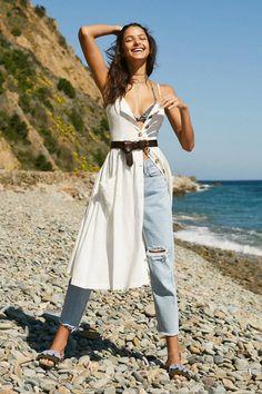 Slide View: 1: Cooperative Emilia Linen Button-Down Midi Dress