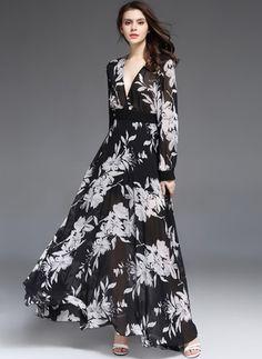 Chiffon Floral, Chiffon Maxi Dress, Trendy Dresses, Nice Dresses, Summer Gowns, Fashion Wear, Fashion Tips, Korean Dress, Vestidos Vintage